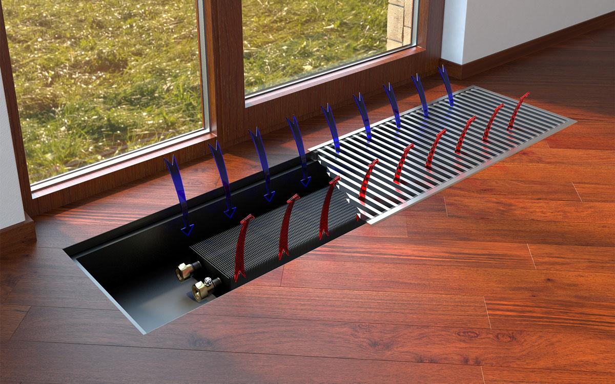 Встраиваемый в пол радиатор отопления Varmann Qtherm Slim