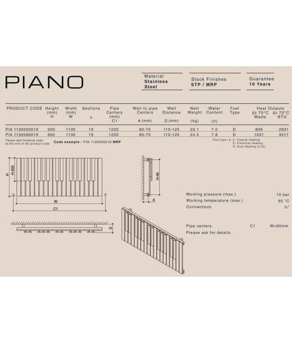 Дизайн радиатор Carisa PIANO