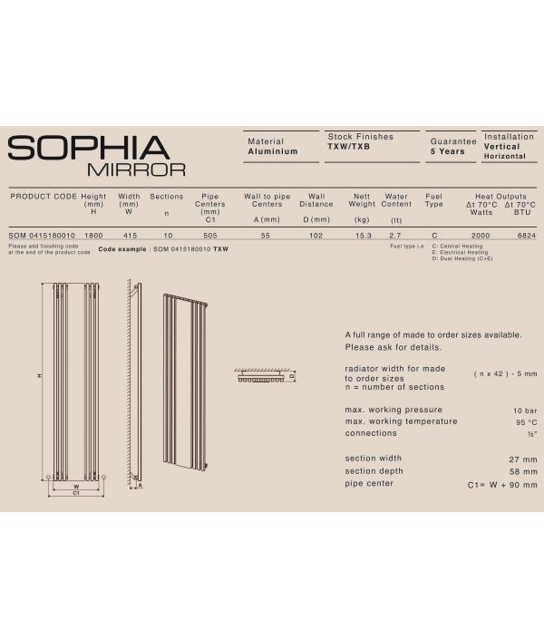 Дизайн радиатор Carisa SOPHIA V MIRROR