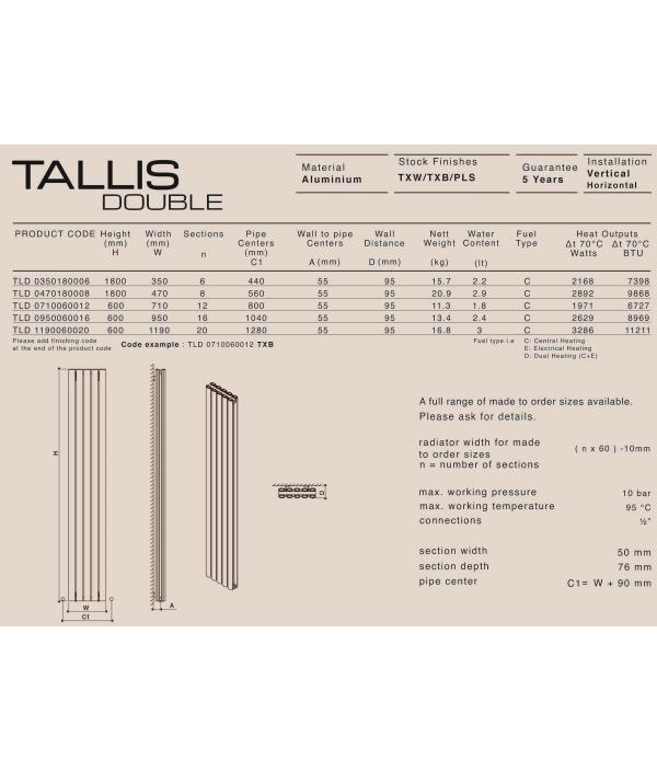 Дизайн радиатор Carisa TALLIS V DOUBLE
