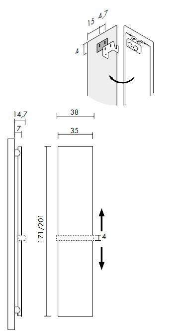 Высота и ширина Porta Accappatoio