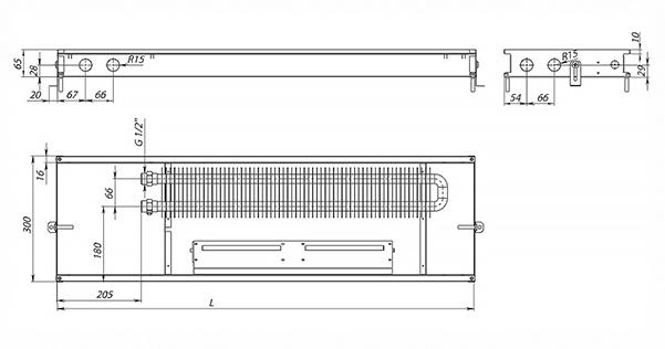 Схема внутрипольного конвектора Carrera MV (CV) Inox 65