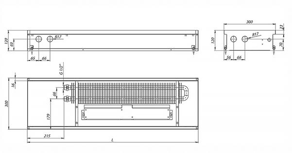 Схема внутрипольного конвектора Carrera SV Inox 120