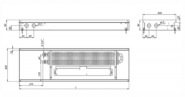 Схема внутрипольного конвектора Carrera SV Inox 90
