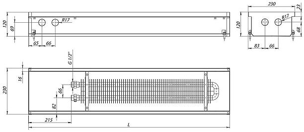 Схема внутрипольного конвектора Carrera S (С) Inox 120