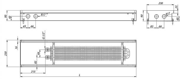 схема внутрипоьного конвектора S (С) Inox 90