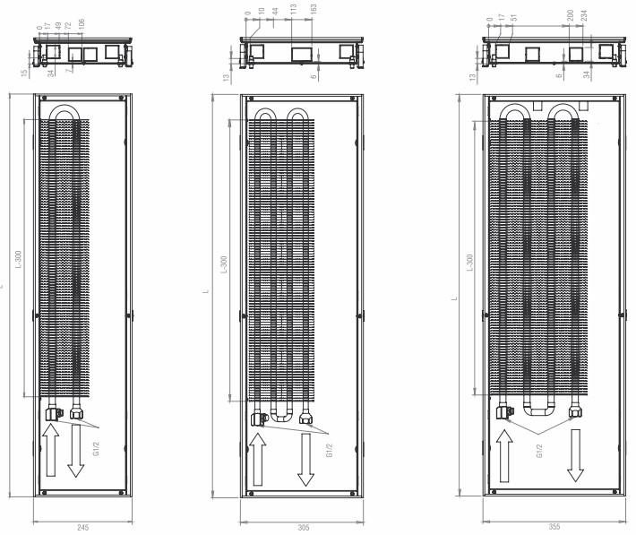 Размеры внутрипольного конвектора HITTE NXX 065