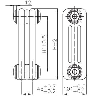 Чертеж радиатора IRSAP Tesi3