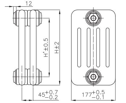 Чертеж радиатора трубчатого IRSAP Tesi5