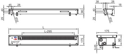 Схема внутрипольного конвектора ISAN FRK 090 175
