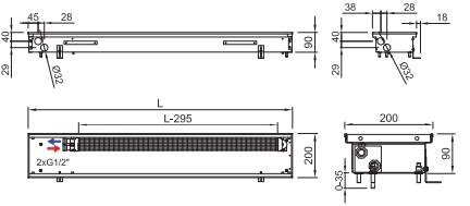 Схема внутрипольного конвектора ISAN FRK 090 200