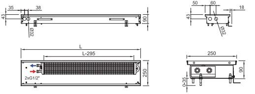 Схема внутрипольного конвектора ISAN FRK 090 250