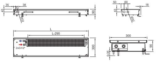 Схема внутрипольного конвектора ISAN FRK 090 300