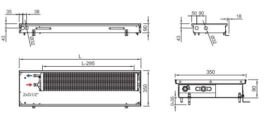 Схема внутрипольного конвектора ISAN FRK 090 350