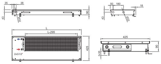 Схема внутрипольного конвектора ISAN FRK 090 425