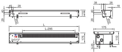 Схема внутрипольного конвектора ISAN FRK 110 175