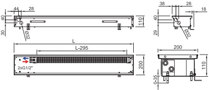 Схема внутрипольного конвектора ISAN FRK 110 200