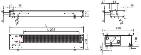 Схема внутрипольного конвектора ISAN FRK 110 250