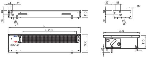 Схема внутрипольного конвектора ISAN FRK 110 300