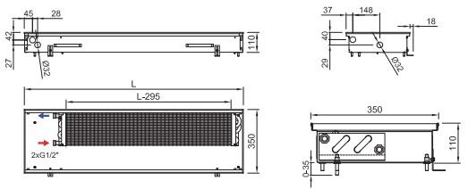 Схема внутрипольного конвектора ISAN FRK 110 350