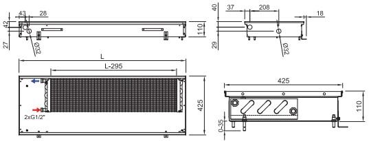 Схема внутрипольного конвектора ISAN FRK 110 425