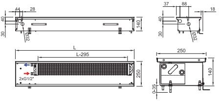Схема конвектора ISAN FRK 140 250
