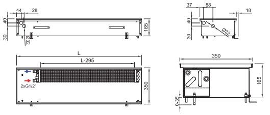 Рисунок внутрипольного конвектора ISAN FRK 165 350