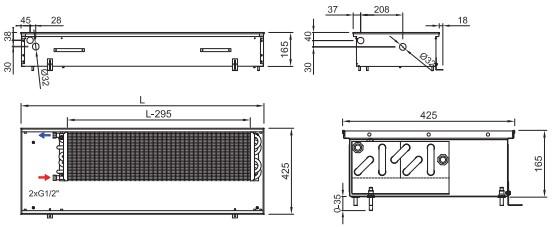 Рисунок внутрипольного конвектора ISAN FRK 165 425