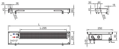 Внутрипольный конвектор ISAN FRK 080 250