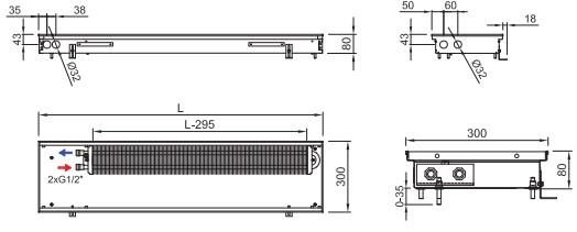 Внутрипольный конвектор ISAN FRK 080 300