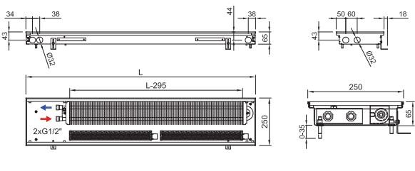 Внутрипольный конвектор ISAN FRT 065 250