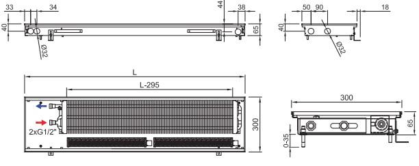 Внутрипольный конвектор ISAN FRT 065 300