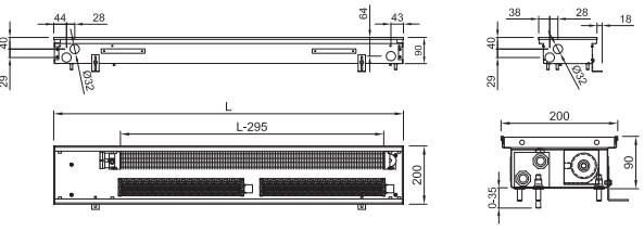 Внутрипольный конвектор ISAN FRT 090 200