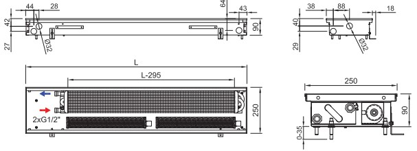 Внутрипольный конвектор ISAN FRT 090 250