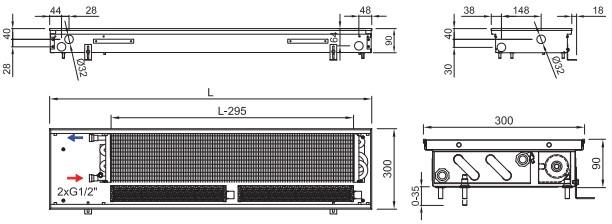Внутрипольный конвектор ISAN FRT 090 300