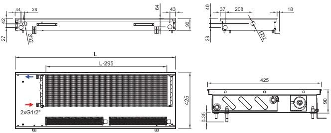 Внутрипольный конвектор ISAN FRT 090 425