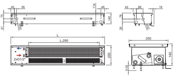 Внутрипольный конвектор ISAN TERMO FRT 140 250
