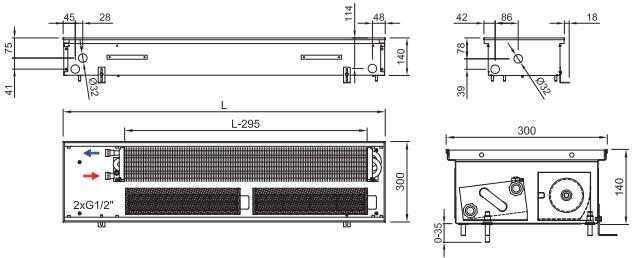 Внутрипольный конвектор ISAN TERMO FRT 140 300