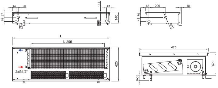Внутрипольный конвектор ISAN TERMO FRT 140 425