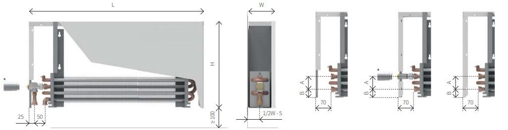Размеры настенного конвектора ISAN ECOLITE CUBE LSK