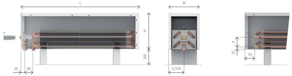 Размер конвектора напольного ECOLITE LZK