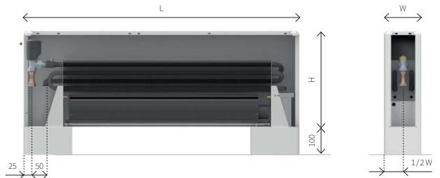 Размеры напольного конвектора ECOLITE ROUND TZT
