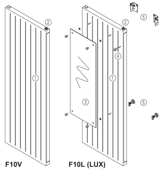 Базовая комплектация вертикального радиатора
