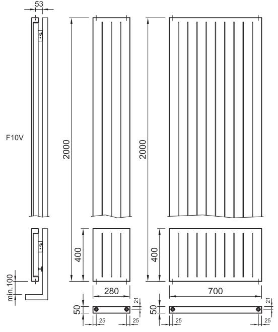 Розміри вертикального радіатора ISAN EXACT F10V