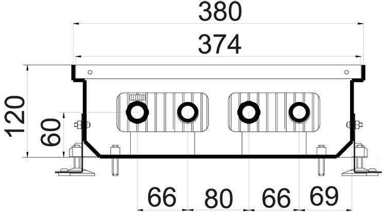 Внутрипольный конвектор Polvax KEM 380 - 90 схема