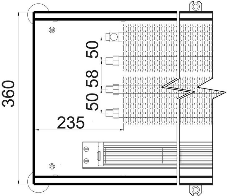 Чертеж внутрипольного конвектора Polvax KVM 360 67