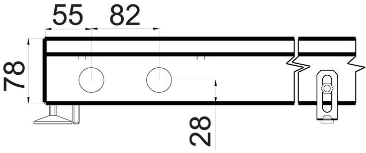 Чертеж конвектора в пол Polvax KVM 360 78