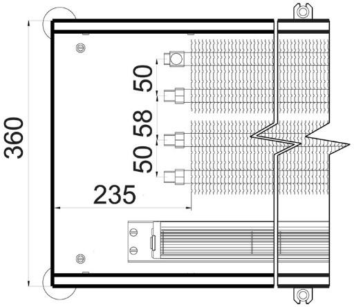 Чертеж внутрипольного конвектора Polvax KVM 360 78