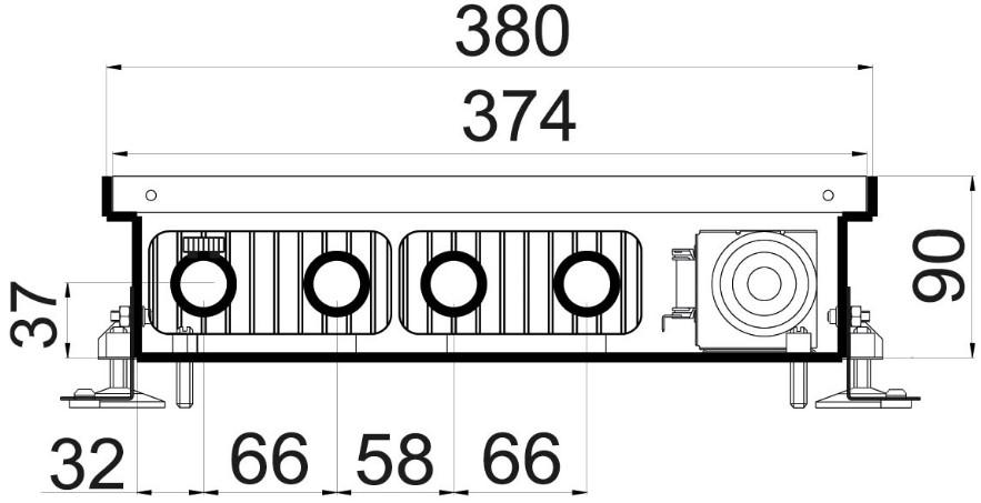 Чертежи внутрипольного конвектора Polvax KVM 380 90