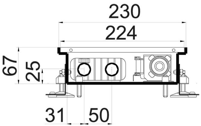 Схема внутрипольного конвектора Polvax KV 230 67